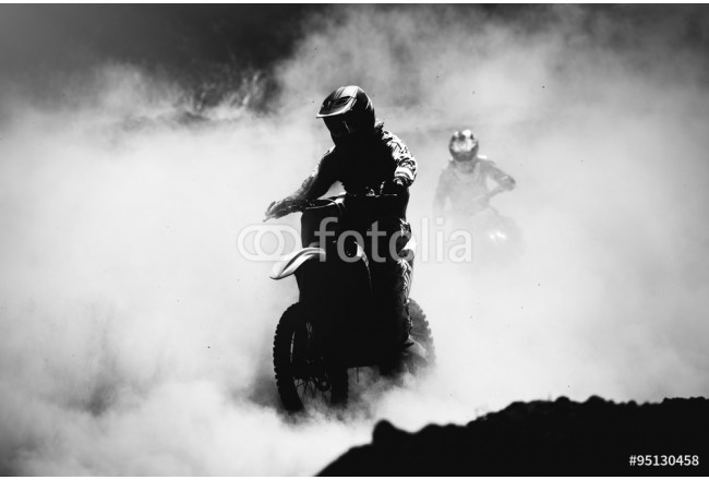 Motocross racer accelerating in dust track, Black and white, hig 64239