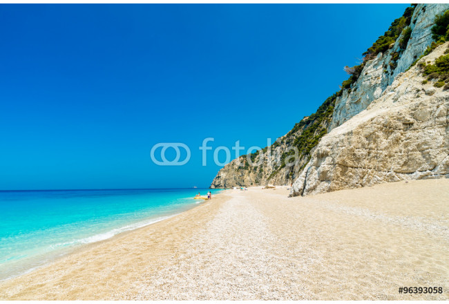 Egremni beach, Lefkada island, Greece. Large and long beach with turquoise water on the island of Lefkada in Greece 64239