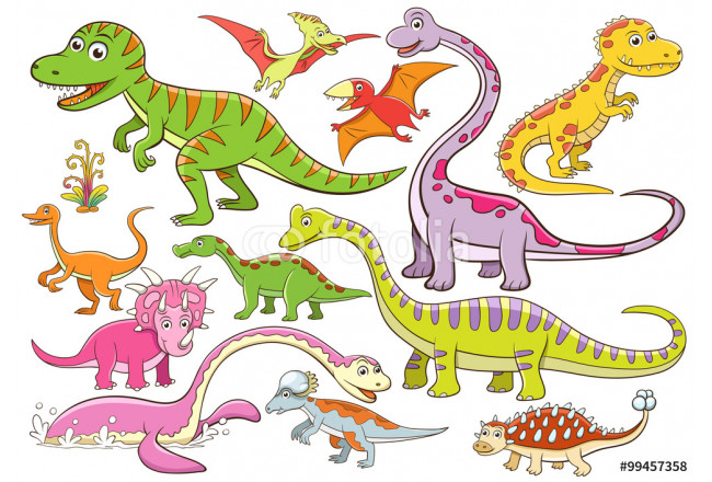 illustration of cute dinosaurs cartoon character 64239