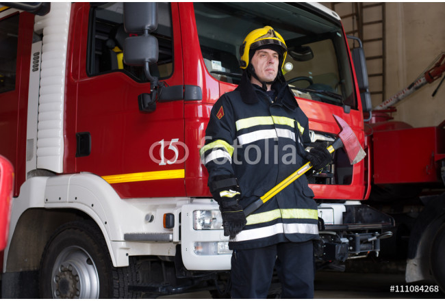 Quadro contemporaneo Fireman on duty,under exposed photo 64239