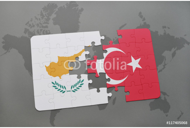 Obraz nowoczesny puzzle with the national flag of cyprus and turkey on a world map background. 64239