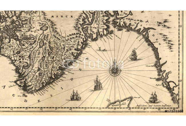 Ancient map of a southern part of Norway (1630) 64239