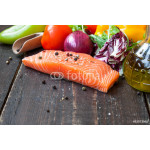 fresh salmon with vegetables on a wooden table 64239