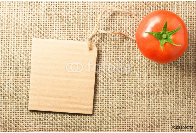 tomato vegetable and price tag on sacking background texture 64239