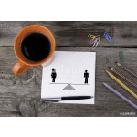 Equality of man and woman on napkins and wooden table 64239