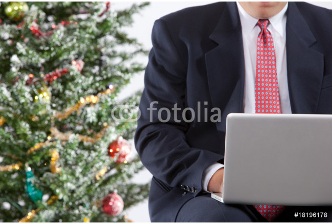 business man with notebook next to christmas tree 64239