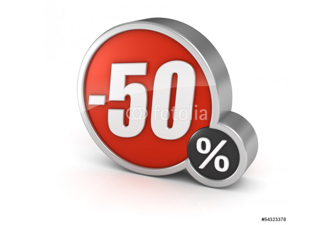 Discount 50% sale 3d icon on white background 64239