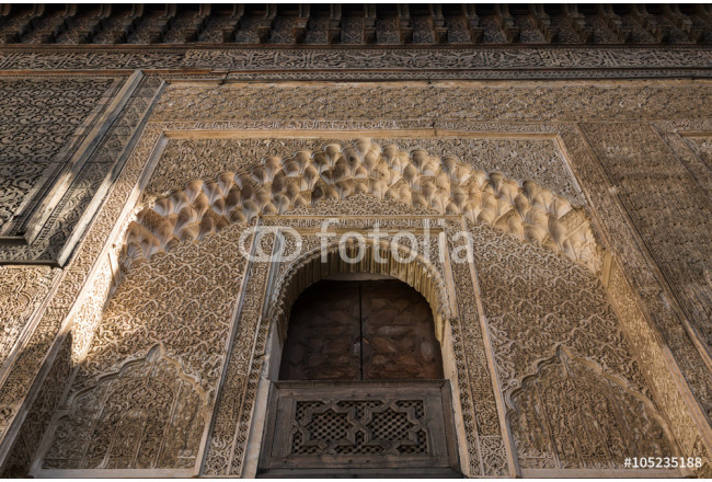 decorated exterior wall of a mosque in the ancient medina of Fes 64239