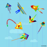 Set of flat colorful kite flying on the background of blue sky and clouds. Cartoon kite flying flies in the sky. Vector stock illustration. 64239