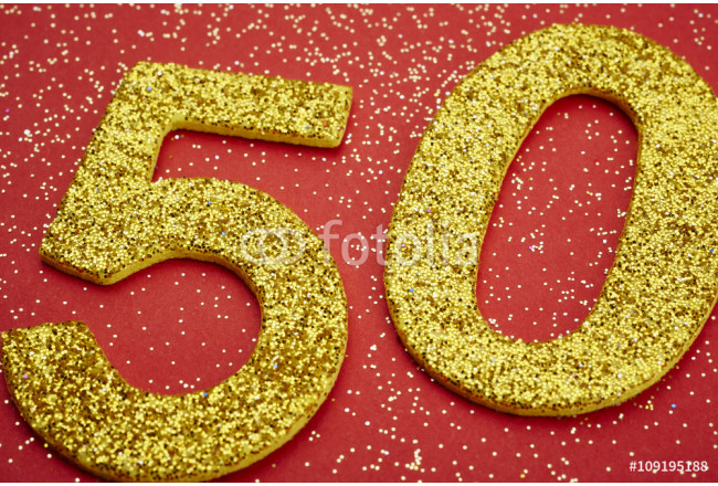 Number fifty golden color over a red background. Anniversary 64239