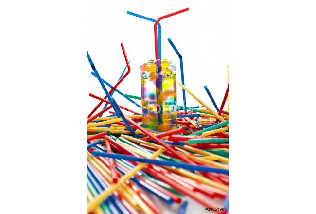 A large group of colored  plastic straw 64239