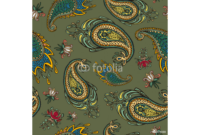 Art painting colorful paisley seamless 64239