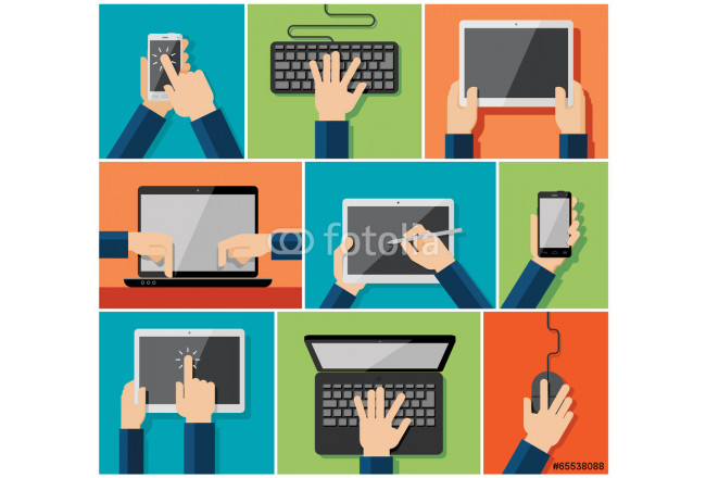 Vector set of flat hand icons holding various hi-tech computer a 64239