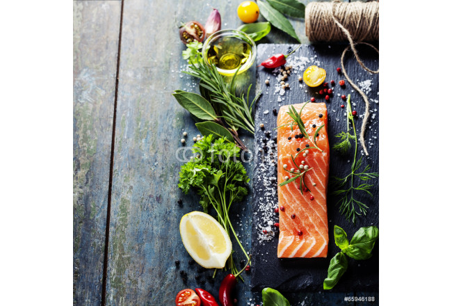 Delicious  portion of  fresh salmon fillet  with aromatic herbs, 64239