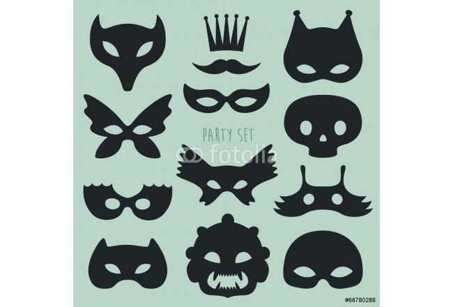 Cuadro decorativo carnival mask and disguises vector illustration 64239
