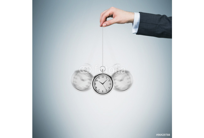 Painting A hand holds a pocket watch in a chain as a pendulum. Light blue background. Time is money concept. 64239