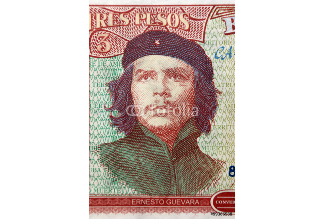 CUBA - APPROXIMATELY 1995: Ernesto Guevara portrait on 3 Pesos 1995 Banknote from Cuba 64239