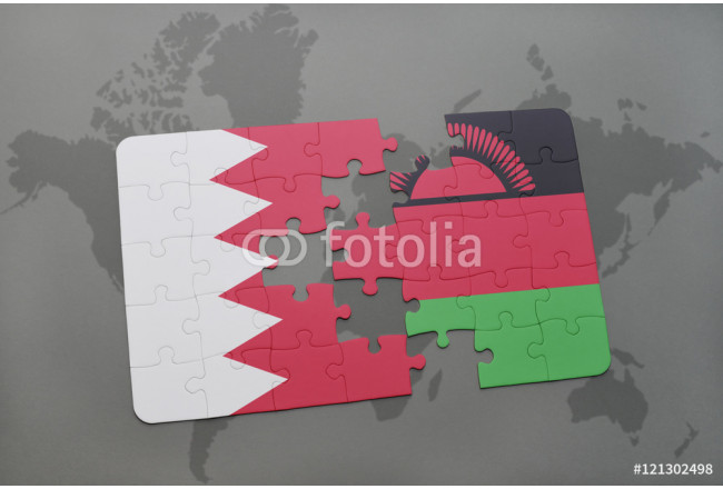 puzzle with the national flag of bahrain and malawi on a world map background. 64239