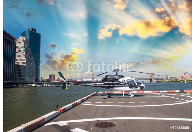 Helicopter on the launch platform in New York with city skyline 64239