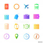 Colorful style Travel Icons vector set. 64239