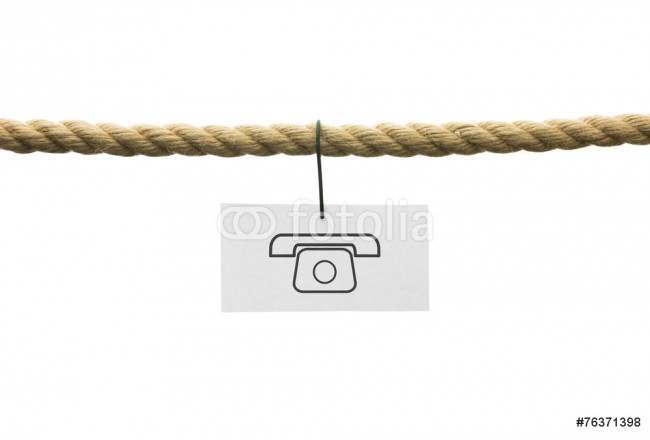 White card with phone symbol hanging by wire from a rope isolate 64239
