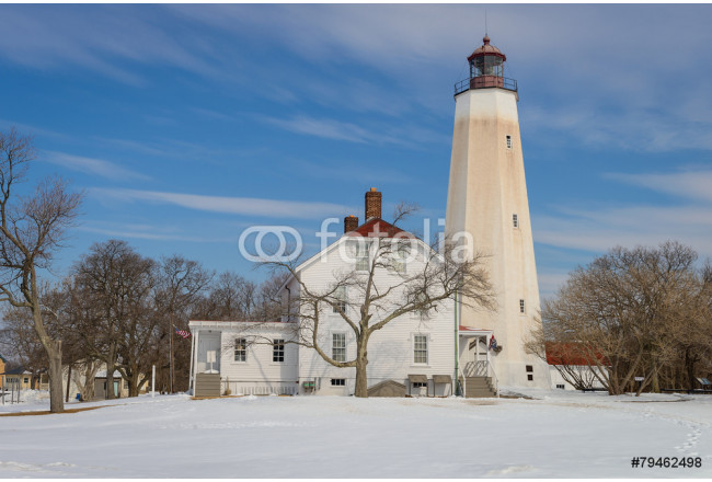 Quadro contemporaneo Sandy Hook Lighthouse in New Jersey / Winter scenery 64239