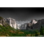 Dark dramatic depiction of Yosemite National Park at iconic Valley View with El Captain 64239
