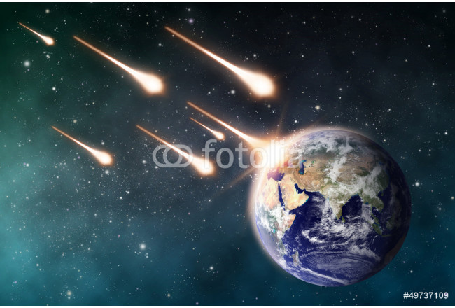 meteorite impacts the Earth space scene 64239