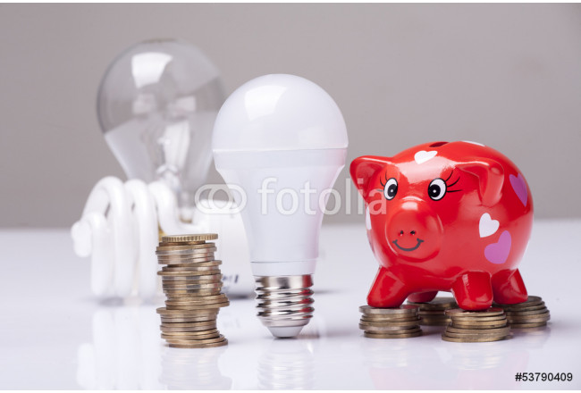 Painting piggy bank with money and LED bulb in the foreground 64239