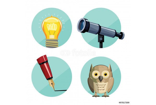 Collection business icons. New idea. Business Plan. Draft new advertising campaign. Training and Education. Cartoon simple vector illustration. 64239