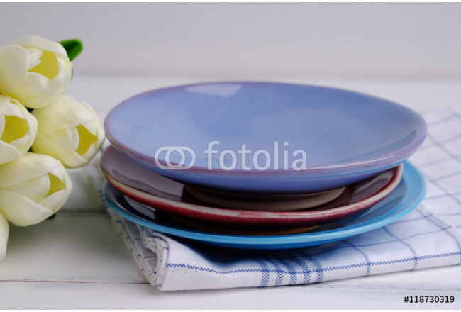 Blank dish and tulips. 64239