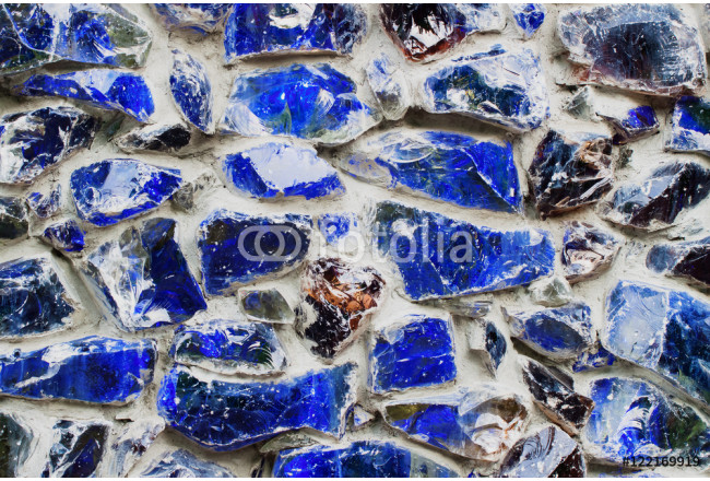 Blue walls from Colored stone and glass mosaic, texture background 64239