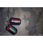 army blank, dog tag with flag of united arab emirates and yemen on the khaki texture background. military concept 64239
