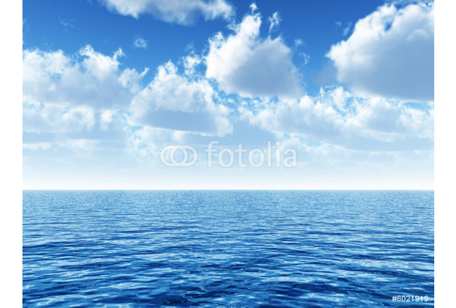 cloudy blue sky above a blue surface of the sea 64239