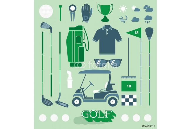 Vector Set: Golf Equipment Icons and Silhouettes 64239