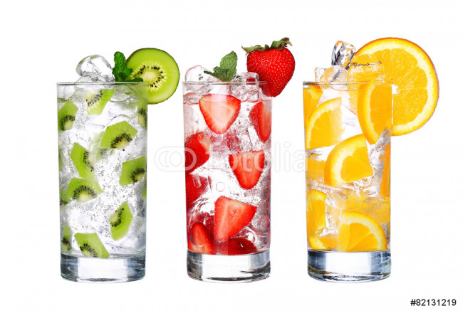 Glass Of Cold fruit Drinks collection  isolated on white backgro 64239