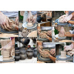 The hands of a potter help the child make a pitcher on a pottery 64239
