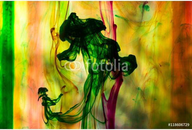Acrylic colors and ink in water. Abstract background. 64239