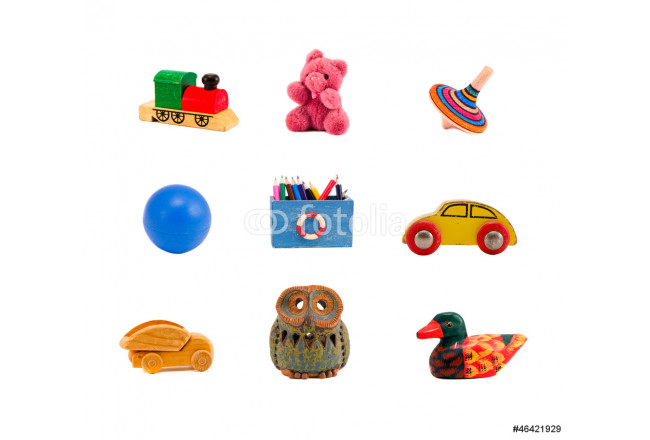 assorted toys collection isolated on white background 64239
