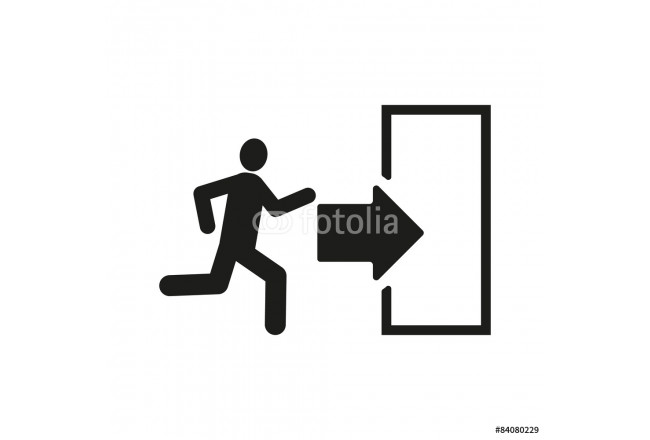 The exit icon. Emergency Exit symbol. Flat 64239