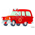 Caricatura Ford Mainline Country Sedan Station Wagon 1955 jefe bomberos rojo vista frontal y lateral 64239