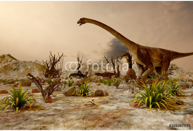 Painting Dinosaur. Prehistoric Jungle, landscape, valley with Dinosaurs 64239