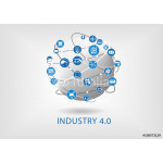 Industry 4.0 infographic. Connected smart devices with globe. 64239