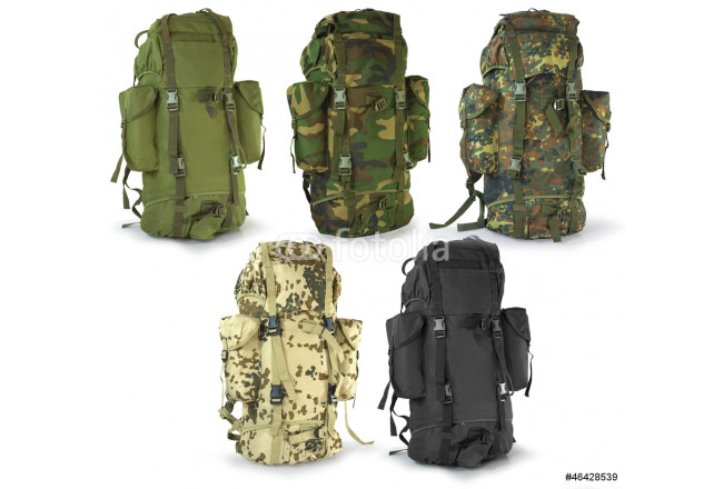 Military or survival  hunters  backpacks set isolated on white 64239