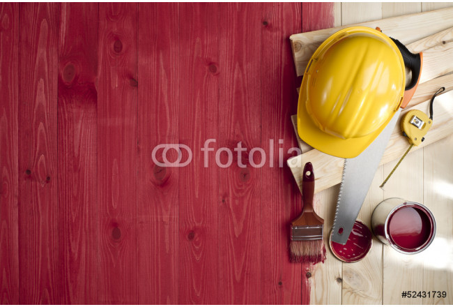 red wood floor with a brush, paint, tools and helmet 64239