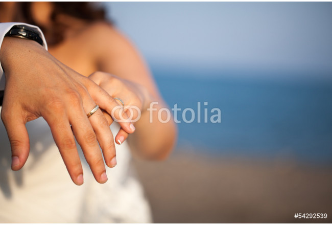 Closeup of hands of newlyweds showing their rings 64239