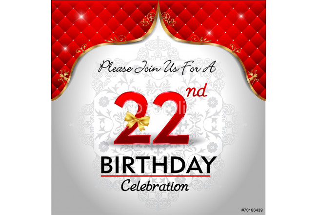 celebrating 22 years birthday, Golden red royal background 64239