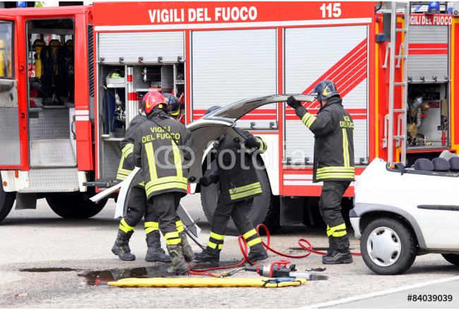 fireman and road accident with car parts and the firetruck 64239