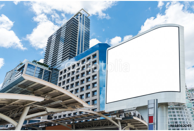 Blank white billboard on sunny city with building and blue sky. 64239