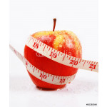Beautiful  Apple and measuring tape on white background 64239